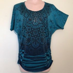 Tops - Embellished Teal Polyester Top - Size L